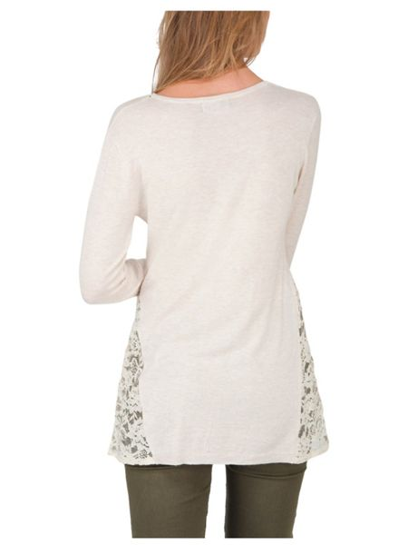 Jane Norman Cream Long Sleeve Lace Insert Jumper