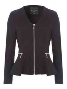 Jane Norman Black Zip Detail Ponte Peplum Jacket