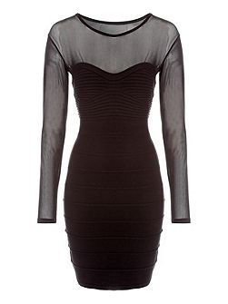 Rib & Mesh Panel Jumper Dress