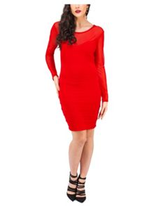 Jane Norman Rib & Mesh Panel Jumper Dress
