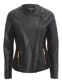 Jane Norman PU Jersey Biker Jacket