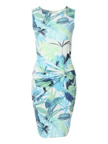 Knot front tropical print dress