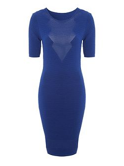 Mid Blue Rib Mesh Jumper Dress