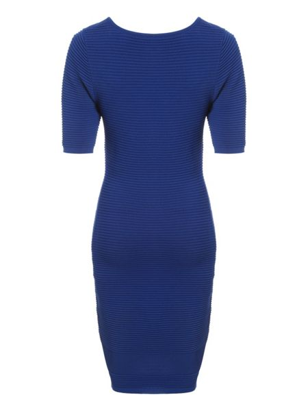 Jane Norman Mid Blue Rib Mesh Jumper Dress