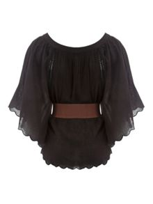 Black Belted Kaftan Top