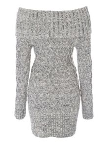 Stone Bardot Button Jumper