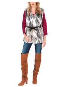 Jane Norman Mixed Fur Belted Gilet Coat