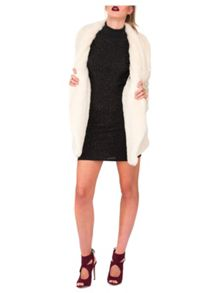 Ivory Faux Fur Waterfall Coat