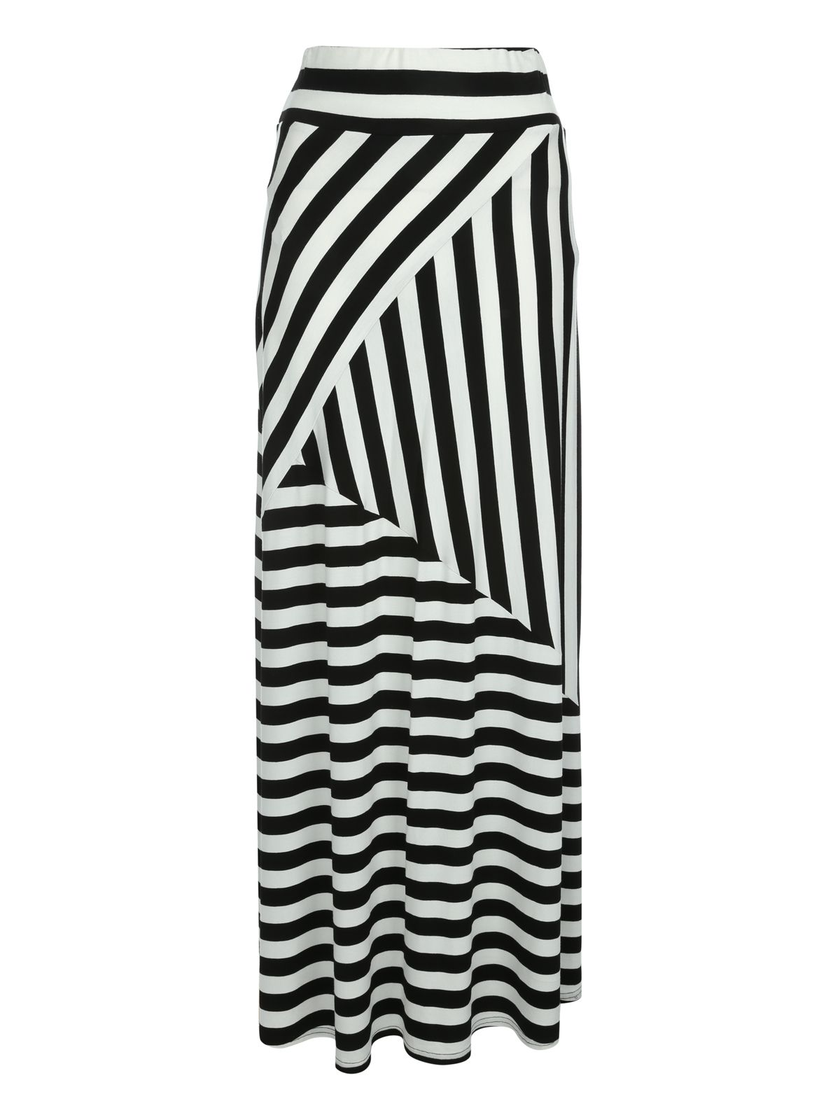 Jane Norman Striped Maxi Skirt, Black