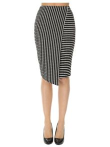 Asymmetrical Stripe Wrap Skirt