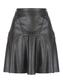 Jane Norman Black PU Trumpet Hem Skirt