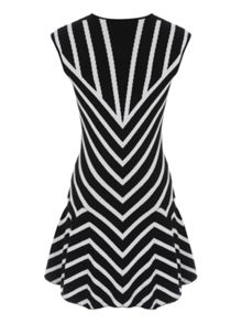 Jane Norman Black & White Chevron Jumper Dress