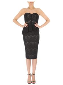 Jane Norman Bonded Lace Peplum Dress