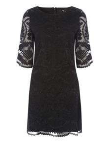 Jane Norman Black Embroidered Shift Dress