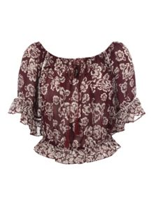 Red Floral Printed Gypsy Top
