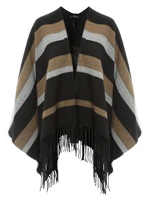 Jane Norman Stripped Knit Cape Cardigan