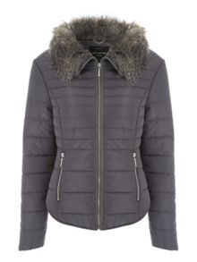 Fur Collar Short Padded Coat