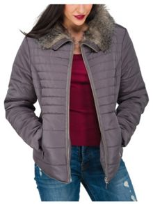 Fur Collar Short Puffa Coat