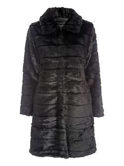Black Longline Fur Coat