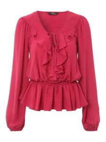 Berry Ruffle Front Blouse