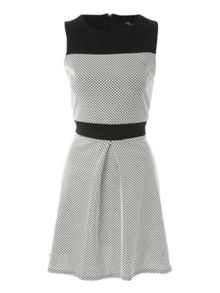 Mono Textured  Drop Hem Dress