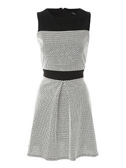 Jane Norman Mono Textured Drop Hem Dress