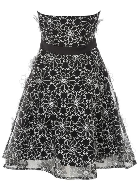 Jane Norman Black & White Lace Daisy Prom Dress