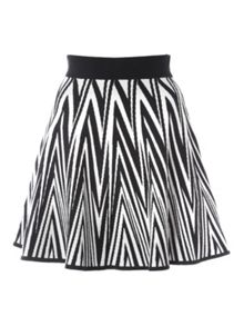 Black & White Knitted Chevron Skirt