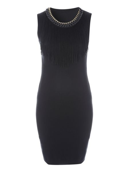 Jane Norman Black Fringe Detail Jumper Dress