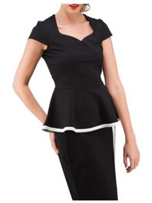 Jane Norman Black & White Peplum Sweetheart Top