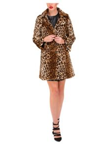 Jane Norman Leopard Faux Fur Coat