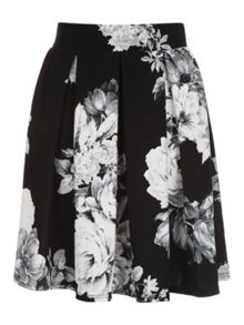 Mono Floral Box Pleat Skirt
