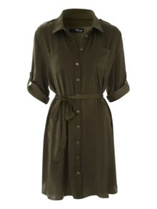 Jane Norman Khaki Short Utility Shirt Dress