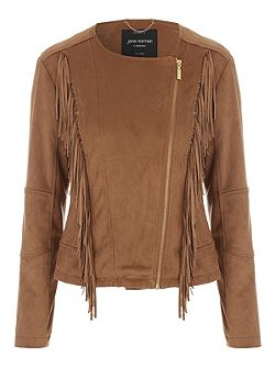 Tan Faux Suede Fringed Jacket