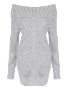 Jane Norman Grey Pointelle Bardot Jumper
