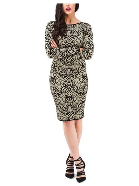 Jane Norman Gold Intarsia Lurex Jumper Dress