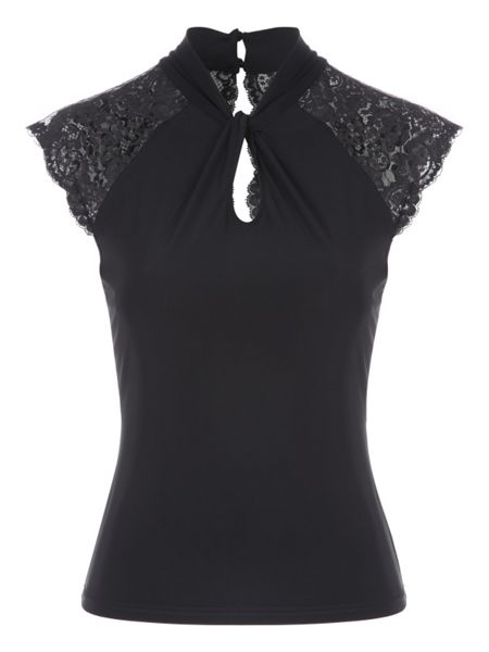 Jane Norman Twist Neck Lace Top