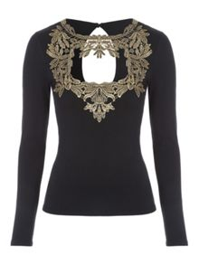 Jane Norman Foil Brocade Top