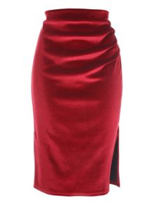 Jane Norman Ruched Velvet Skirt