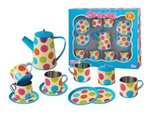 Champion Industrial Tin Tea Set Colorful Spot - 13 Pieces