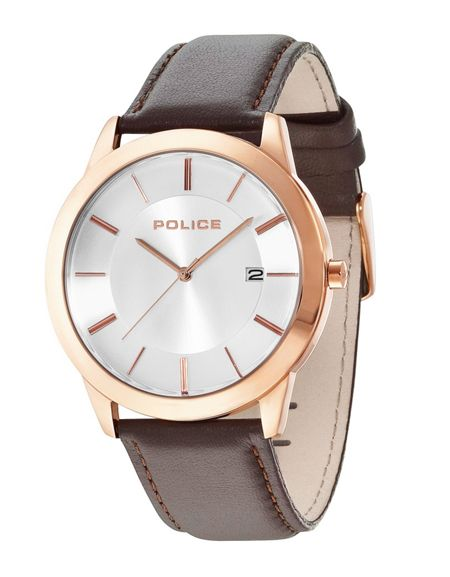Police Gents Sonoran brown strap watch