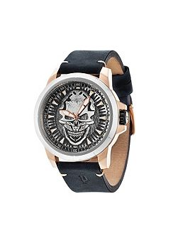 Gents black leather strap watch