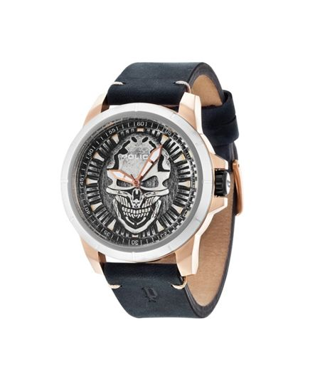 Police Gents black leather strap watch