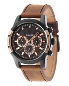 Police Gents camel leather strap watch