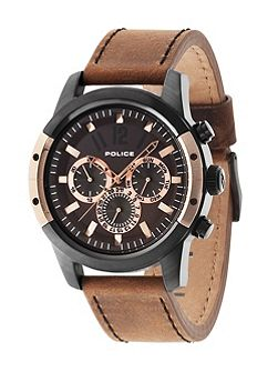 Gents camel leather strap watch
