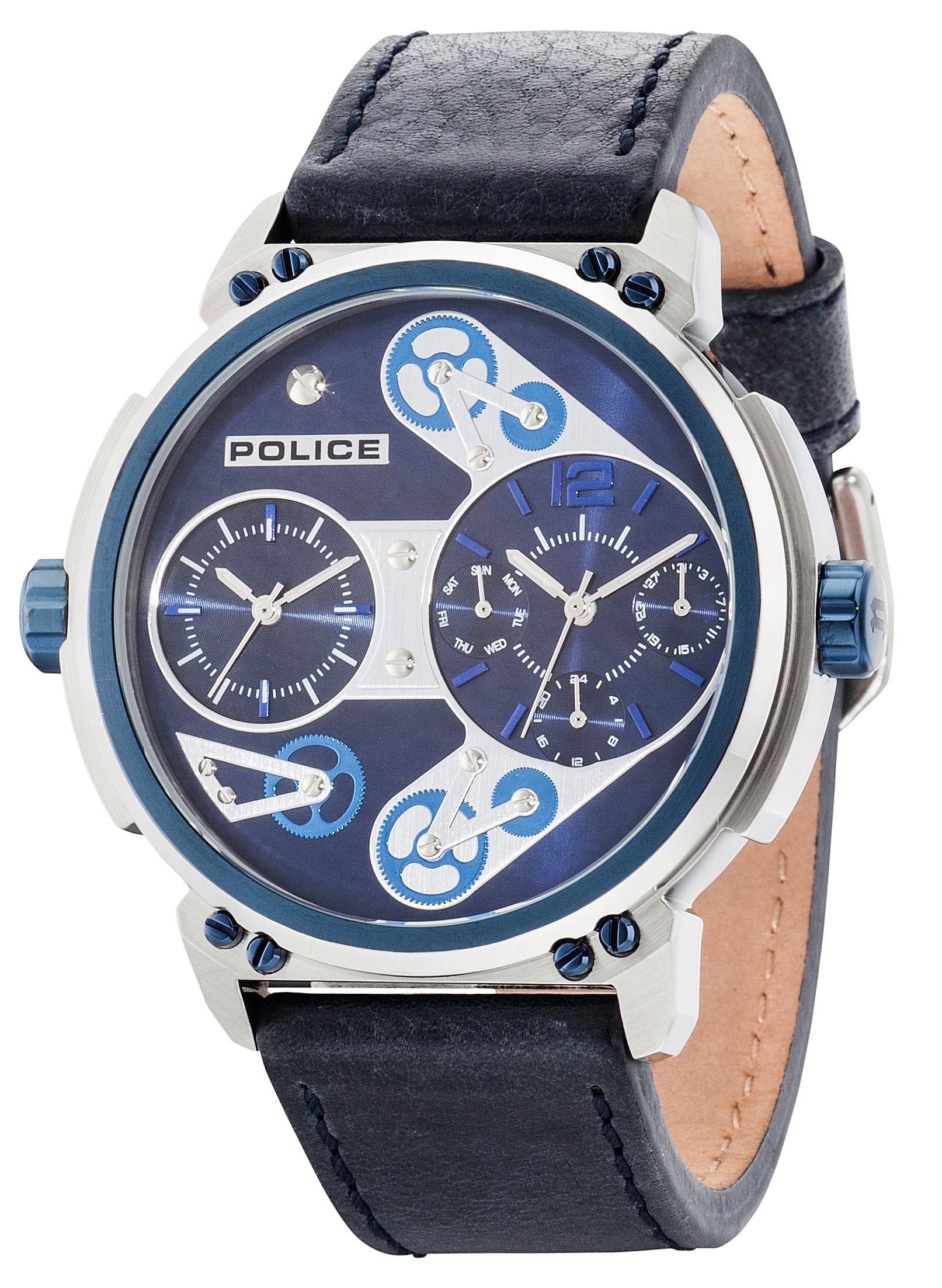 Police Gents blue leather strap watch Blue