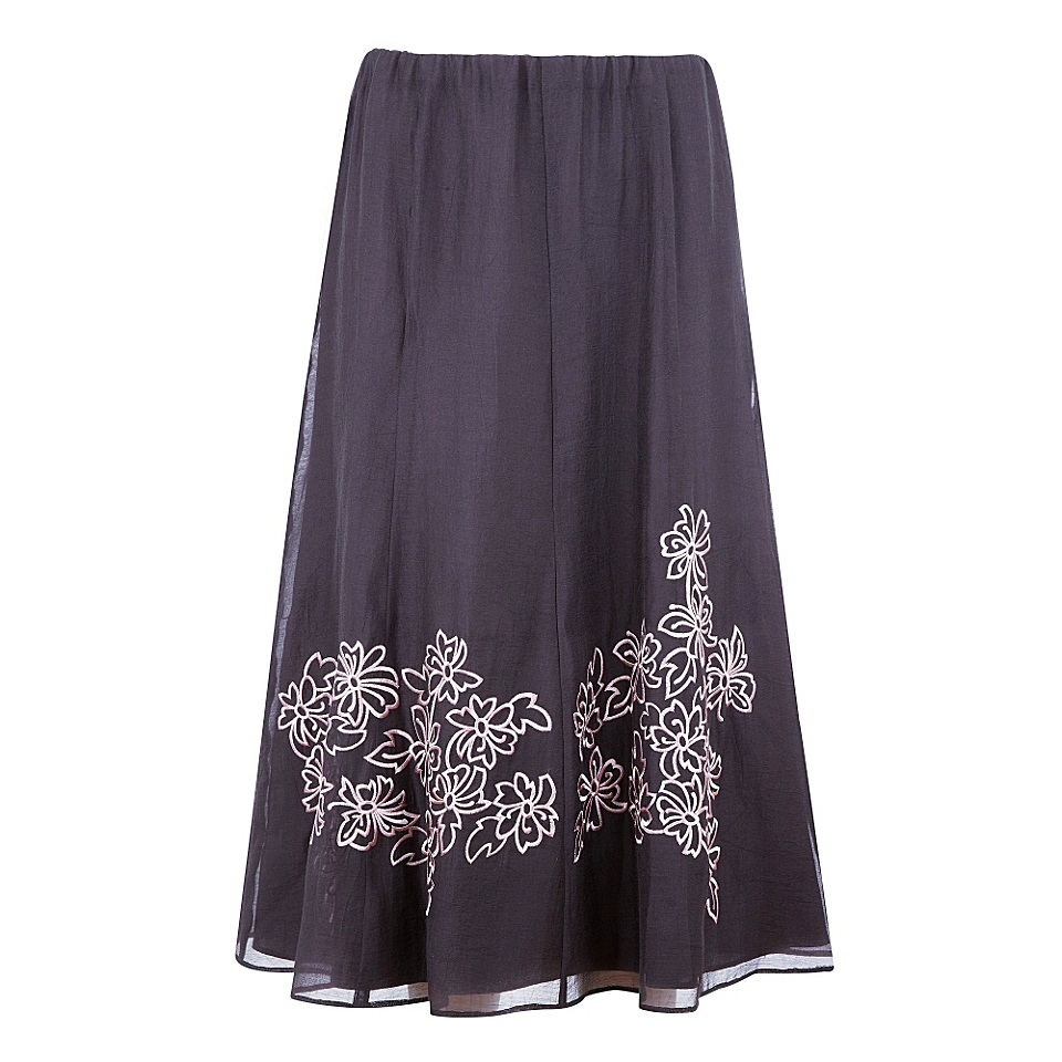 Jacques Vert Coffee embroidered skirt Brown