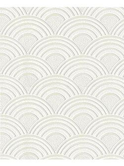 White Arches Geometric Paintable Wallpaper