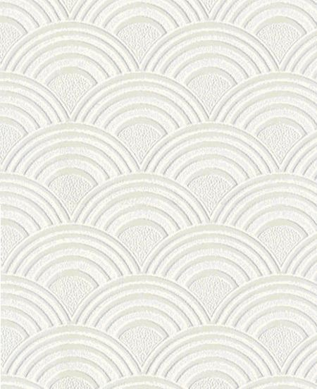 Graham & Brown White Arches Geometric Paintable Wallpaper