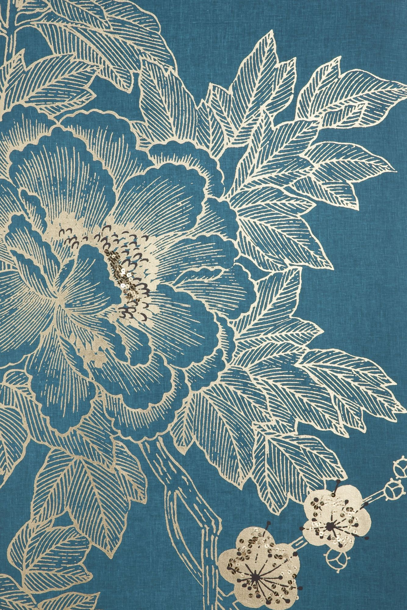 Monsoon Lhasa lotus teal wall art